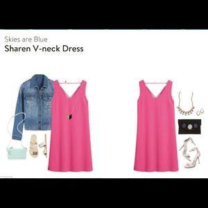 Hot pink - Skies are Blue Sharen V Neck Dress - M